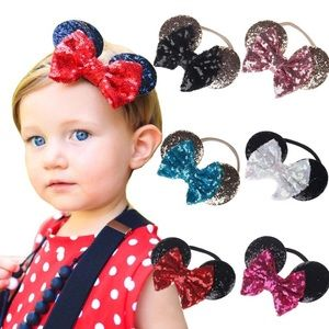 Minnie Mouse Headband with Sequin Bow